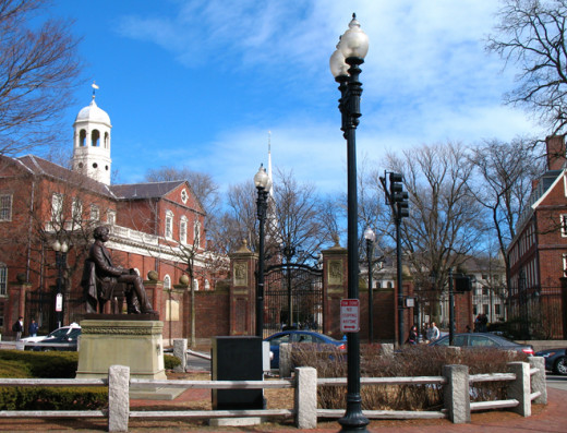 Johnston Gate, the most heavily used access to Old Harvard Yard