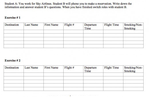 Airline information fill sheet.