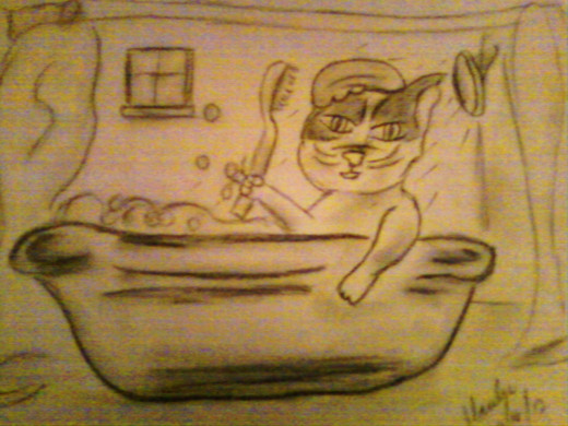 Munchkin taking a bath.  Artwork by Marilyn Santis Rojas