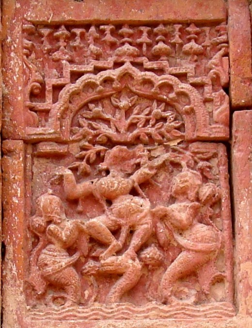 KALIYA DAMAN : Taming of Kaliya the Serpent Demon by Lord Krishna; Raghunath temple
