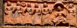 A rich lady with a group of female companions;  Lakshmi Narayan temple, Ghurisa