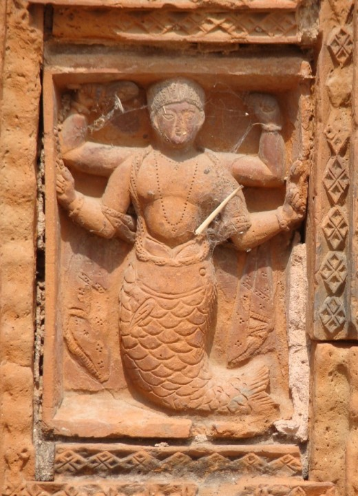MATSYAVATAR : Lord Vishnu as a fish;  Lakshmi Narayan temple, Ghurisa
