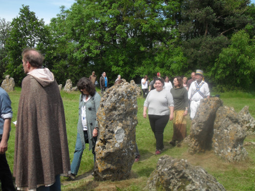 Joining in with Druids to celebrate the summer solstice at the Rollright Stones