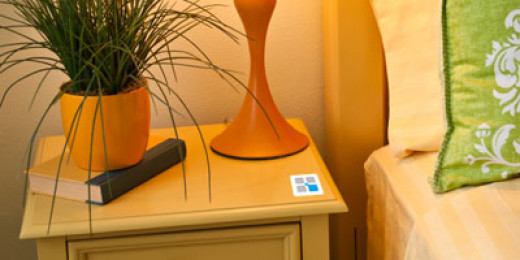 A TecTile sticker on the nightstand.