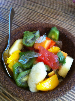 Fresh fruit salad with iced toffee