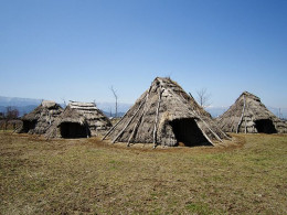 A village of reconstructed Jomon-period (around 3,000 BCE) houses at the Hira-ide Historic Site Park in Shiojiri, Nagano Prefecture, Japan.