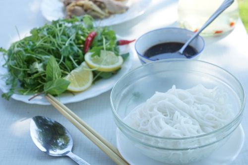 bun mang vit - bamboo shoots duck rice vermicelli noodle, serve cold or ...