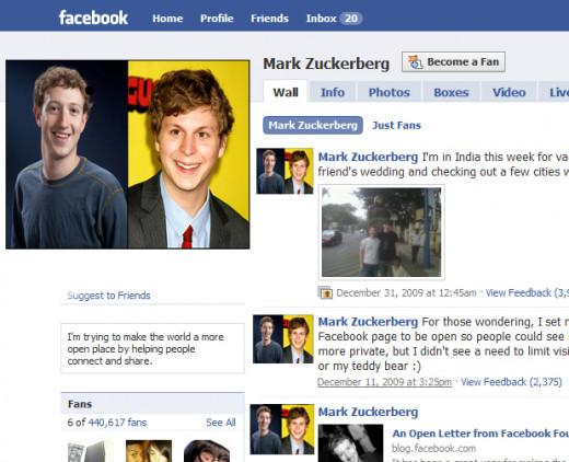 Mark Zuckerberg's Facebook profile page