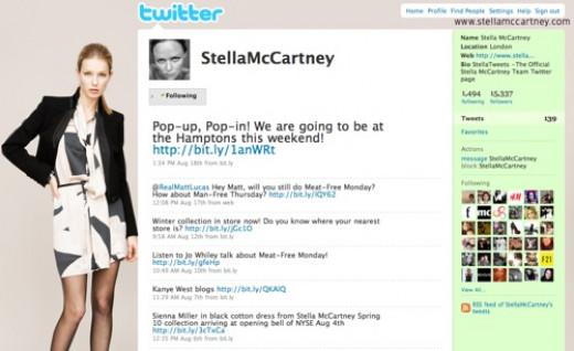 Stella McCartney's Twitter profile page