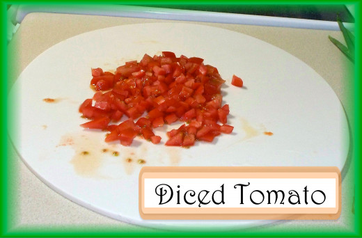 Dicing the Tomato: Dice 1 1/2 cups of tomato.