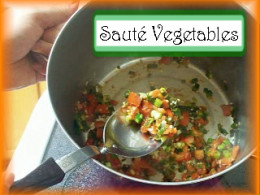 Sauteing the Albondigas Vegetables: Sauté the vegetables at medium high temperature for 10 minutes, stirring frequently.
