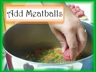 Adding Meatballs to the Albondigas Pot: Drop meatballs into the pot and cook for 10 minutes.