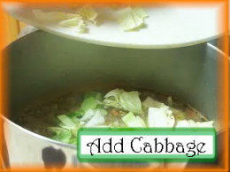 Adding Cabbage to the Albondigas Pot: Add cabbage to the soup pot and cook for 10 minutes.