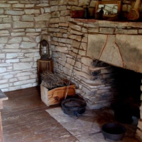 FIREPLACES served as places to cook food and a source of warmth for pioneer families.