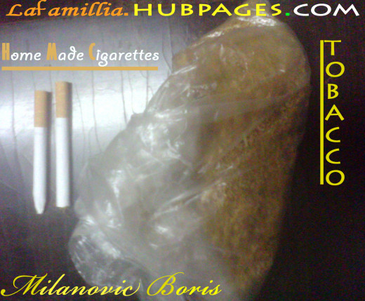 Tobacco in the bag, and two home-made cigarettes. You can by an 7 day of cigarette stash, for 3 heavy smokers, for 5euros + 2 euros for tubes with filter.