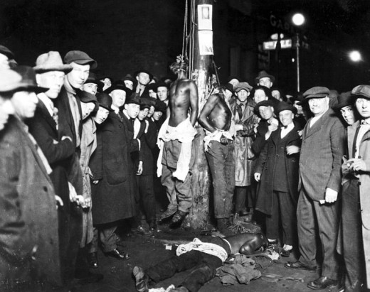 Postcard of the Duluth lynchings of black men on June 15, 1920