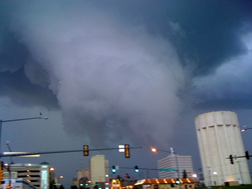 Photo of the funnel cloud that hovered over downtown Topeka.