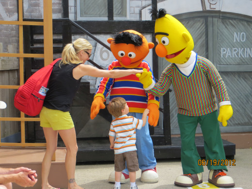 My daughter and grandson meet Ernie & Bert
