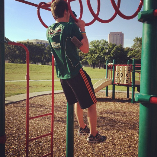 Make do with what you have. Playgrounds can be great for workouts!