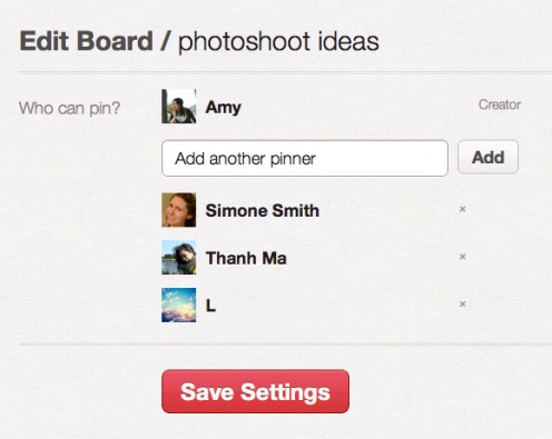 Editing a group board