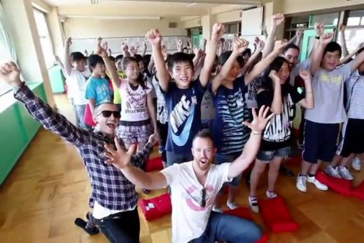 "Linkin Park on their tour to Japan to support the ""Save the Children"" foundation"