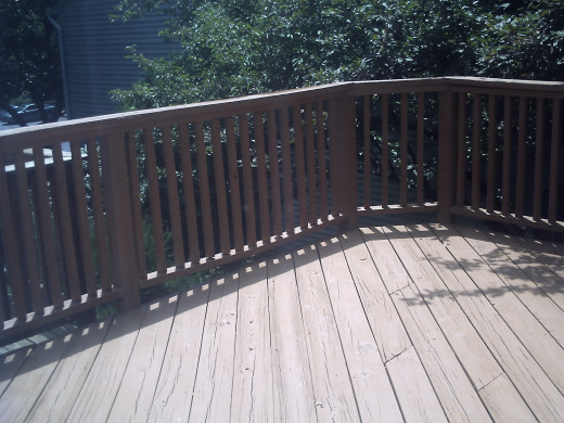 Different angle of the deck stained