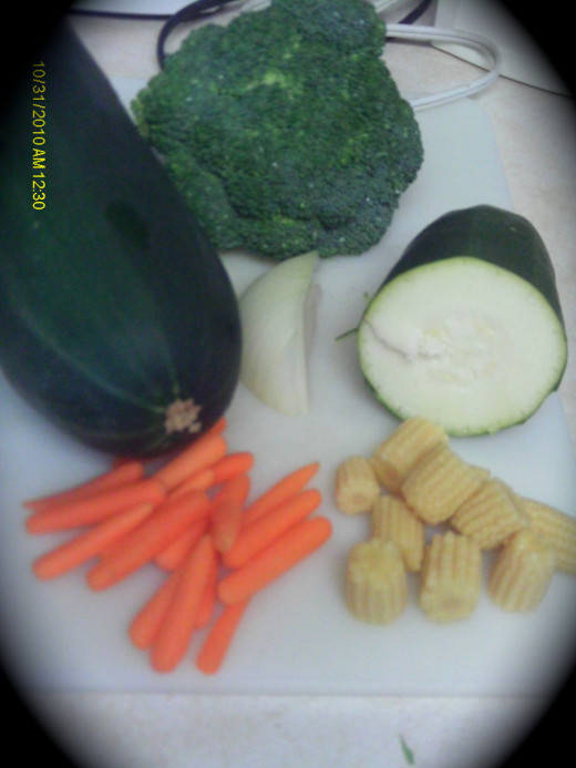 Fresh vegetables can vary with what you have on hand.