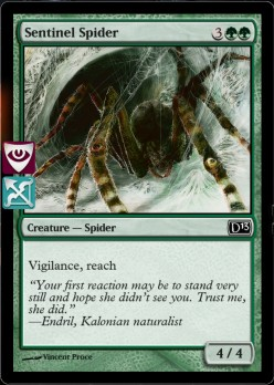 Vigilance means he won't tap when he attacks leaving him free to guard, Reach means he can block creatures with flying (like your dragon)