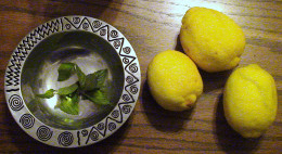 Fresh lemons and mint from the garden.