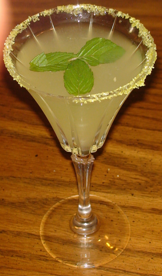 Mint leaves make an attractive garnish for a summer martini.
