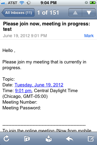 Open the WebEx meeting invitation and copy down the meeting number.