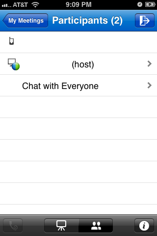 Tap the icon featuring a silhouette of two people at the bottom of the screen to view a list of the meeting participants.