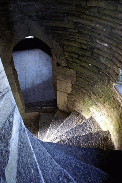 Spiral staircase in the castle