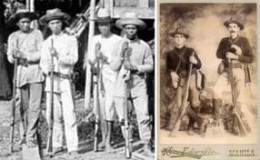 PhilAm war 1899-1902, 4 Filipino soldiers (L) and 2 Americans