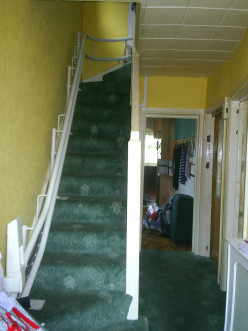 The stair lift folds up