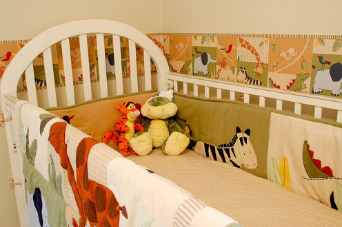 Be sure the crib meets all safety regulations.