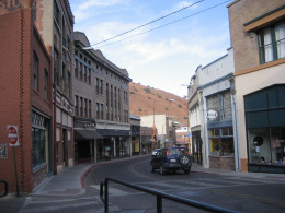 Bisbee's main street curves through the bottom of the canyon.