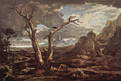 """Elijah In The Wilderness"" or "" Elias in der Wüste"" (1818) by Washington Allston  from Wikimedia Commons"