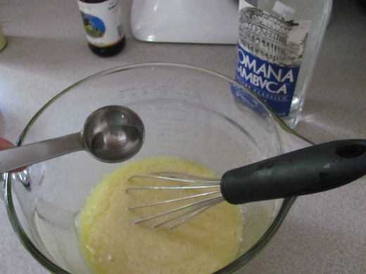 Add your flavoring to the egg and sugar mixture, including your vanilla