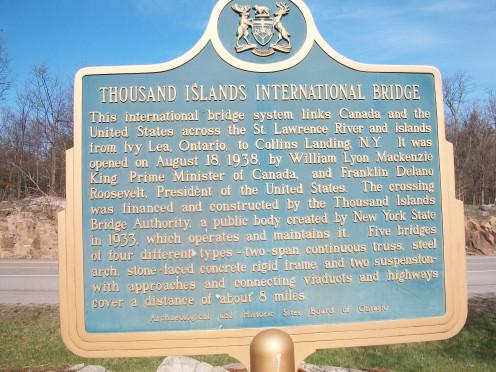 Historical plaque, Thousand Islands Bridge, Hill Island, Ontario