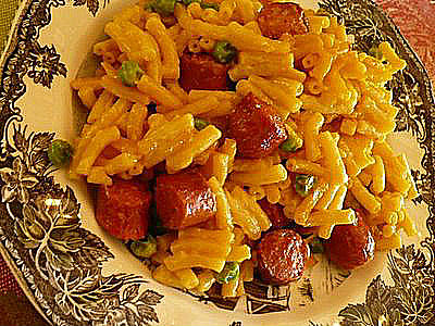 This is an easy recipe for Hot Dogs, Mac And Cheese. Notice We Slipped English Peas In.