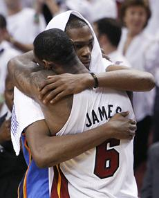 Kevin Durant and LeBron James embrace after the Miami Heat won the 2012 NBA Championship