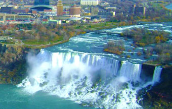 View of the American Falls at Niagara Falls Canada.