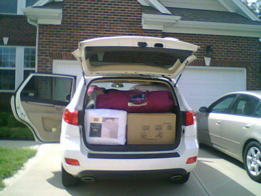 My mother's car packed up. The only thing in my car was a hanging mirror.