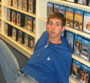 This is me in the local blockbuster; I love movies!