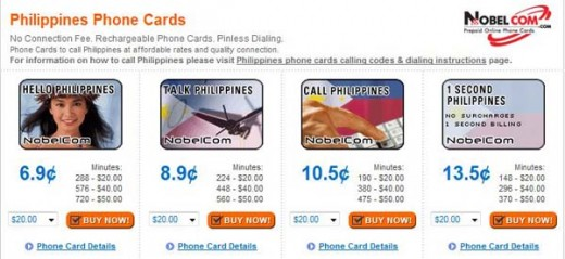 Screenshot of Nobelcom's phone card rates for calling a land line in Philippines. These are the advertised rates as of 12/07/08