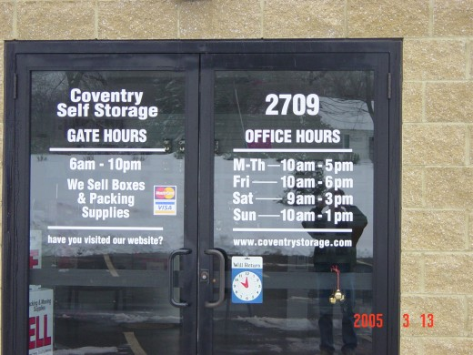 Don't forget your web site on your door and all your advertising materials.  Visit www.selfstoragemarekting101.com to learn ways to take advantage of the internet.