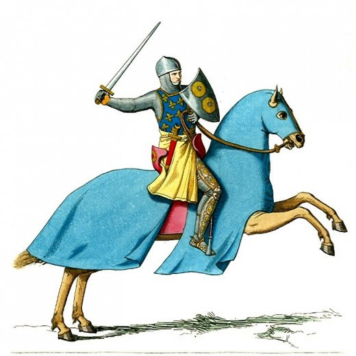 An Armored Knight Mounted on A Cloaked Horse