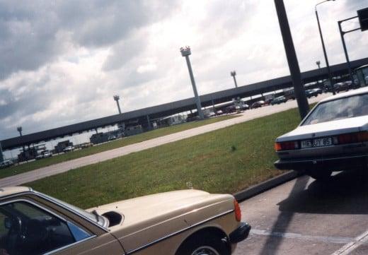 Cars waiting to cross the Marienborn crossing.