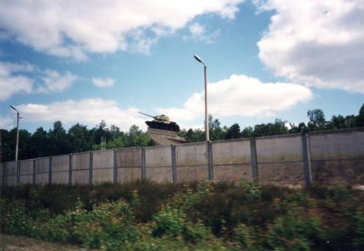 Soviet T-34 War Memorial right before entering West Berlin.